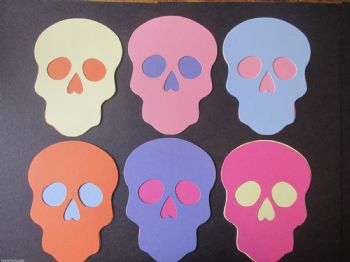 Pack of 12 SKULL  Die Cuts Assorted Colours Day of the Dead Halloween